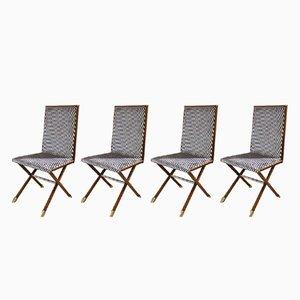 Stühle mit Gestell aus Holz & Füßen mit Messingspitzen, 1970er, 4er Set