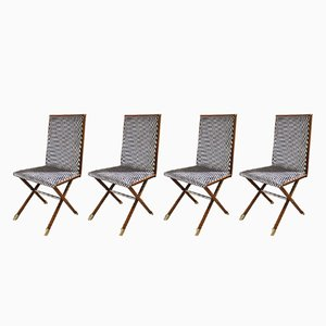 Wooden Chairs with Brass Tips, 1970s, Set of 4