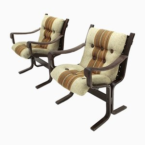 Plywood Armchairs by Ingmar Relling for Westnofa, 1970s, Set of 2