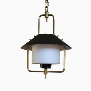 Mid-Century Brass and Opaline Glass Lantern Ceiling Light
