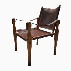 Cognac Saddle Leather Safari Chair, 1960s