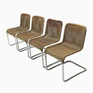 Sedie da pranzo in metallo cromato, anni '70, set di 4