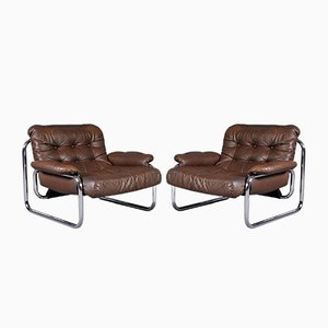 Swedish Model Troligen Leather Lounge Chairs by Johan Bertil Häggström for Ikea, 1970s, Set of 2