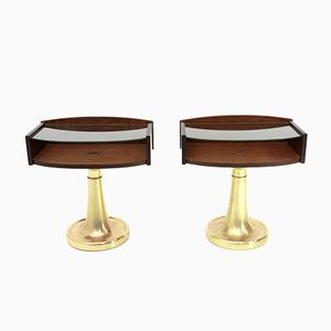 Mid-Century Italian Brass, Glass & Wood Nightstands, 1970s, Set of 2