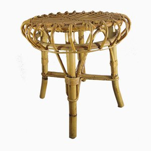 Vintage French Bamboo & Rattan Stool by Janine Abraham & Dirk Jan Rol, 1960s