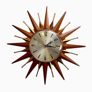 Orologio da parete vintage a forma di sole in teak e rame di Metamec