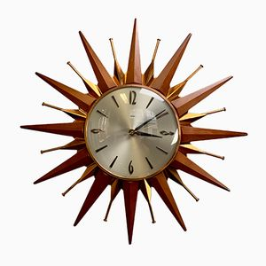 Vintage Teak and Copper Starburst Wall Clock from Metamec