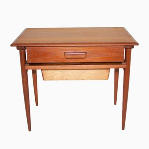 Tavolino in teak con cassetto e vassoio di Hansen Severin, anni '60