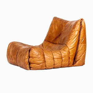 Vintage Cognac Leather Soft Shell Chair by Hans Hopfer for Roche Bobois, 1970s