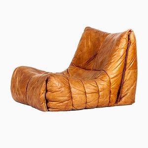 Weicher cognacfarbener Vintage Shell Sessel von Hans Hopfer für Roche Bobois, 1970er