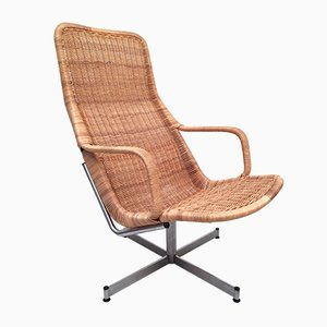Dutch Model 614c Rattan Swivel Chair by Dirk Van Sliedregt for Gebroeders Jonkers Noordwolde, 1960s