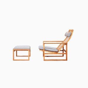 Sessel & Fußhocker von Børge Mogensen für Fredericia, 1960er