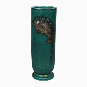 Schwedische Argenta Vase mit Fisch-Motiv von Wilhelm Kåge für Gustavsberg, 1950er