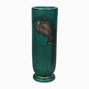 Swedish Argenta Vase with Fish by Wilhelm Kåge for Gustavsberg, 1950s