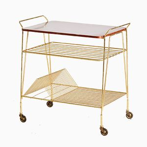 Vintage Brass & Wood Trolley, 1950s