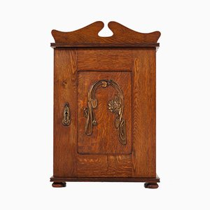 Art Nouveau Arts & Crafts Wall Cabinet with Brass Decor, 1900s