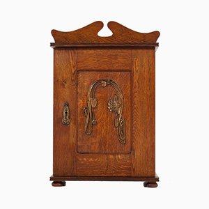 Mobiletto da parete Arts & Crafts Art Nouveau con decorazioni in ottone, inizio XX secolo