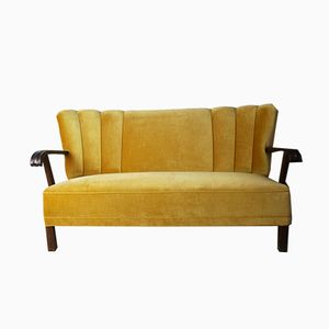 Danish Yellow Velour 3-Seater Sofa, 1940s