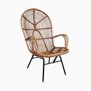 Rattan Easy Chair by Dirk van Sliedregt for Gebroeders Jonkers, 1960s