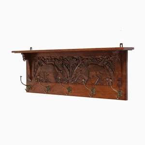 Art Nouveau Oak Coat Rack, 1900s