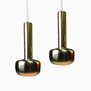 Golden Ceiling Lights by Vilhelm Lauritzen for Louis Poulsen, 1967, Set of 2