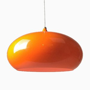 Space Age Deckenlampe in Orange, 1970er