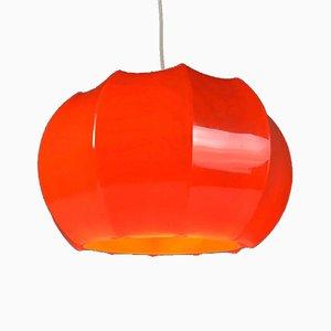 Lámpara de techo era espacial de plástico naranja de Ilka Leuchten, años 70