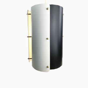 Mid-Century Black and White Cylinder Ceiling Light from Fog & Mørup