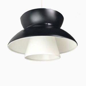 Lámpara de techo danesa en blanco y negro de Jorn Utzon para Louis Poulsen, años 60
