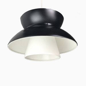 Schwarz-weiße dänische Deckenlampe von Jorn Utzon für Louis Poulsen, 1960er
