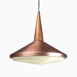 Lámpara de techo danesa de teca y cobre, años 60