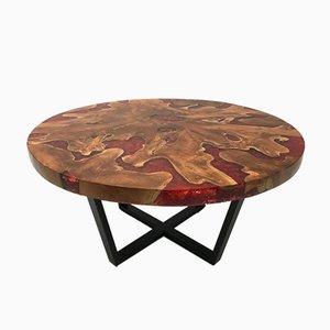Mesa moderna redonda de madera y resina con base de hierro, década de 2000