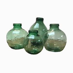 Vintage Green Glass Jars, Set of 4