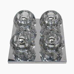 Applique da soffitto o da parete cubista in vetro e in metallo cromato di Peill & Putzler, anni '60