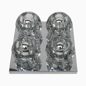 Cubist Chrome & Glass Ceiling or Wall Sconce from Peill & Putzler, 1960s