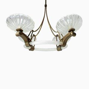 Lámpara de araña italiana vintage de vidrio y latón, años 30