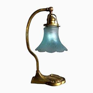 Lampada da tavolo in ottone con paralume in vetro, anni '30