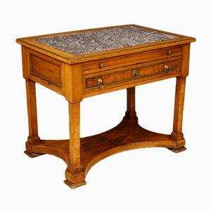 Antiker französischer Schreibtisch aus Nussholz & Marmor