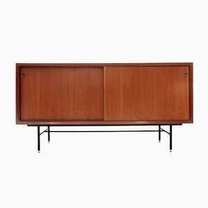 Mid-Century Sideboard with Black Glass Top, 1960s