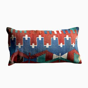 Southwesten White-Red-Blue Wool & Cotton Lumbar Kilim Pillow by Zencef, 2011