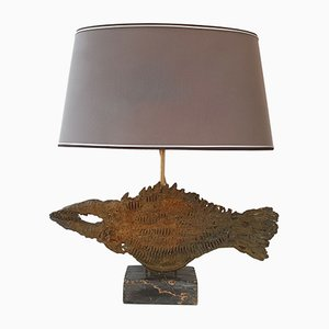 French Brustalist Fish-Shaped Bronze & Marble Table Lamp, 1970s