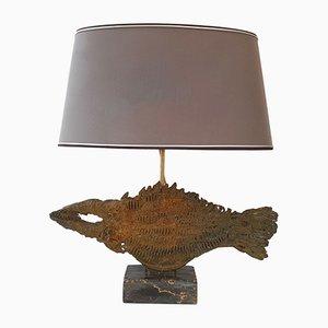 Lámpara de mesa francesa brutalista en forma de pez de mármol y bronce, años 70