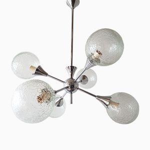 Lámpara de araña Sputnik francesa era espacial de vidrio y metal cromado, años 70
