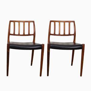 Modell 83 Esszimmerstühle von Niels O. Møller für J.L. Møllers, 1974, 2er Set