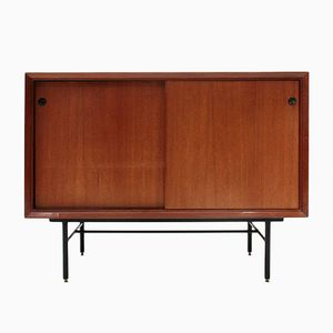 Mid-Century Italian Sideboard with Black Glass Top, 1960s