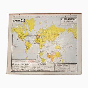 Vintage French Geographical Map, 1950s