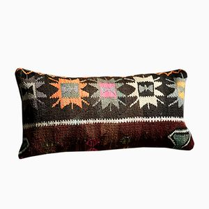 Southwesten Floral Black-Red-Orange-Pink-Green Wool & Cotton Kilim Pillow by Zencef, 2017
