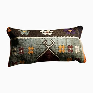 Southwesten Floral Black-Grey-Orange-Red-White Wool & Cotton Kilim Pillow by Zencef, 2019