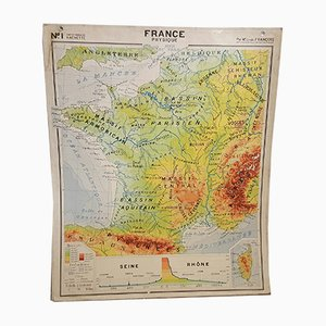 Mid-Century French Geographical Map
