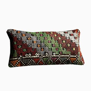 Striped and Embroidered Green-Blue-Red-White Wool & Cotton Kilim Pillow by Zencef, 2014